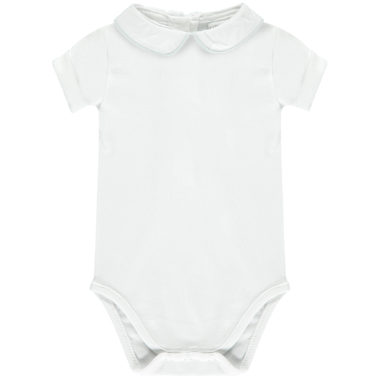 Shortsleeved Babygrow with Peter Pan collar