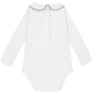 Baby grow with Peter Pan collar grey