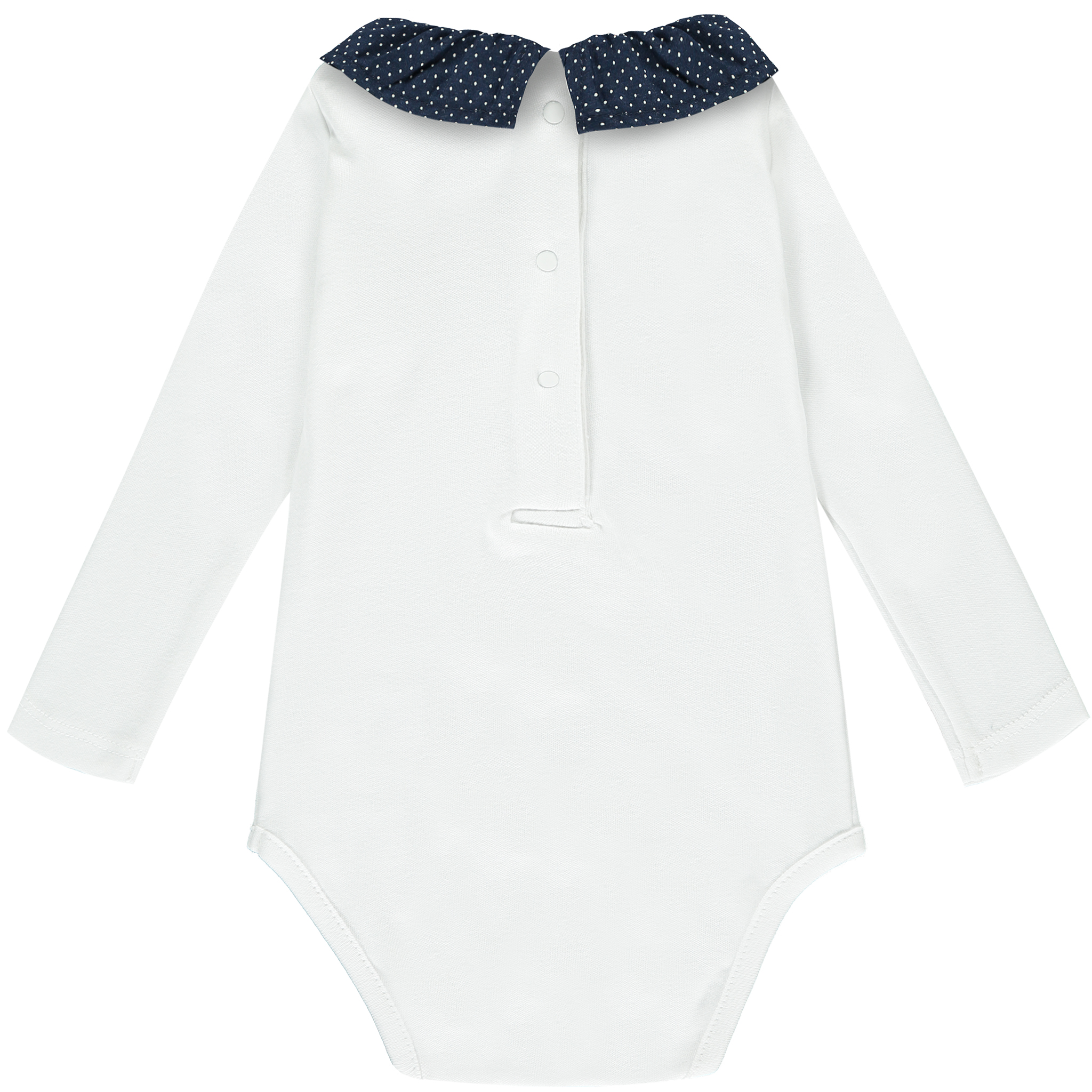 Babygrow with dotted navy frill collar