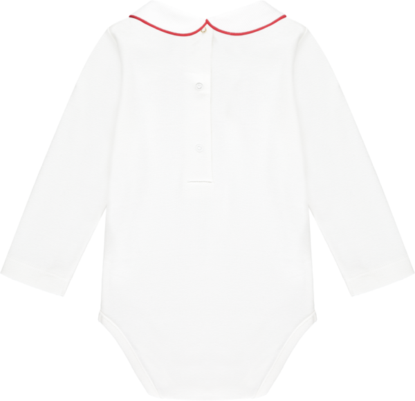 Baby bodysuit with snap buttons at back and classic Peter Pan collar